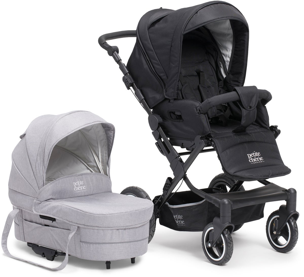 Petit Cherie Solide S Duovogn, Black Melange/Light Grey Melange