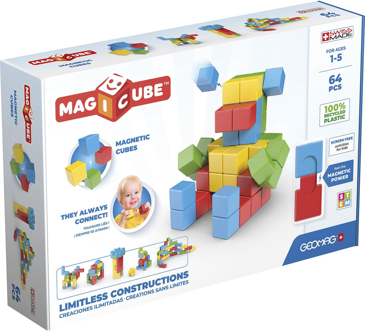 Geomag Byggesett Magicube Full Color Try Me 64