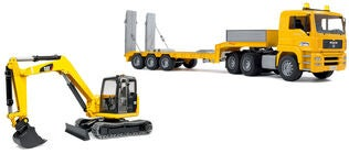 Bruder Low Loader MAN TGA Trailer Med Minigraver