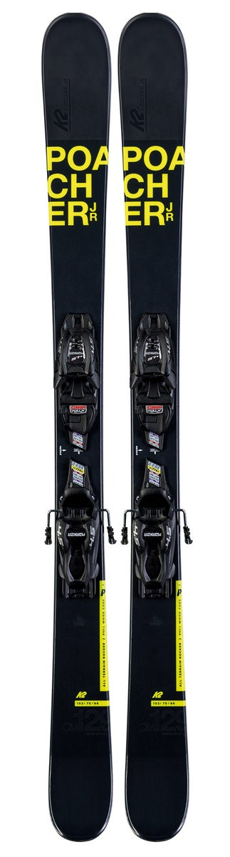 K2 Poacher JR Alpin Ski 129 cm, Svart + Binding 4.5