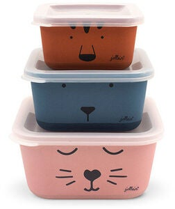 Jollein Snackbox Bambus Animal Club 3-Pack, Multi