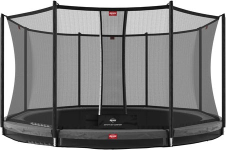 BERG Favorit InGround Trampoline 380 inkl. Comfort Sikkerhetsnett, Grå