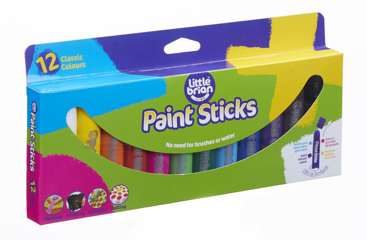 Little Brian Paint Sticks, 12 Klassiske Farger