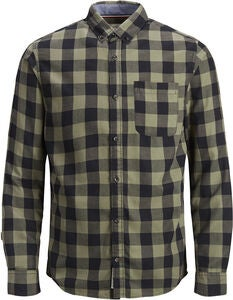 PRODUKT Graham Check Skjorte, Dusty Olive