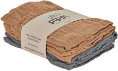 Pippi Organic Musselinteppe 4-pack, Indian Tan