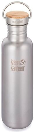 Klean Kanteen Reflect Baboo Cap Vannflaske med Bambuslokk 800ml, Brushed Stainless
