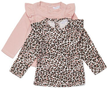 Luca & Lola Lina Topp 2-pack Baby, Leopard/Pink