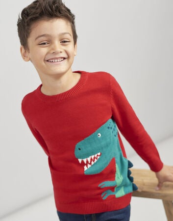 Tom Joule Zany Dino Intarsia Jumper, Red Dino Spike