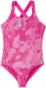 Nike Swim Optic Camo Crossback Badedrakt, Laser Fuchsia