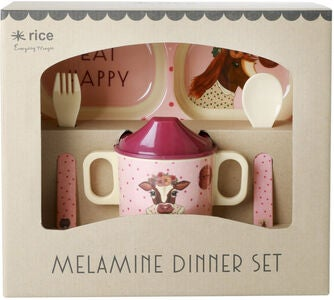 Rice Melaminsett Farm Animals 4 pcs, Pink