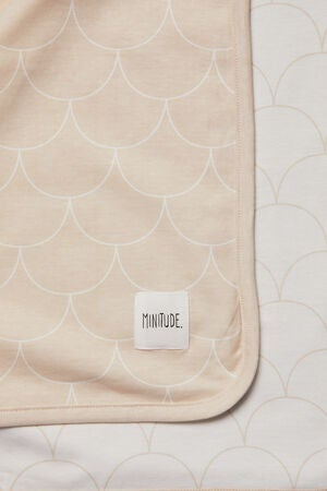 Minitude Scallop Teppe 2-Pack, Whisper Pink/White