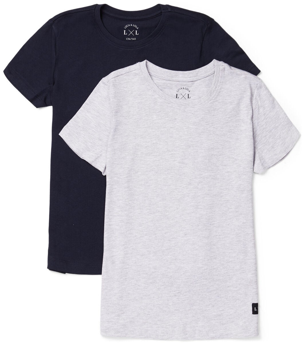 Luca & Lola Davide T-Shirt 2-pack, Grey Melange/Navy