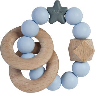 Nibbling Natural Wood Rangle, Soft Blue