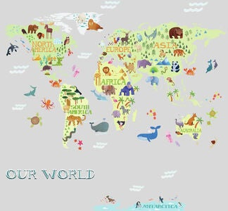 RoomMates Wallsticker Kids World Map