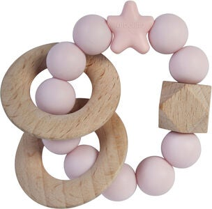 Nibbling Natural Wood Rangle, Baby Pink