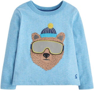 Tom Joule Applique Novelty T-skjorte Marl Bear, Blue