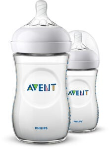 Philips Avent Natural Tåteflaske 260ml inkl. Slow Flow Flaskesmokk 2-pack