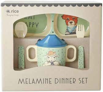 Rice Melaminsett Farm Animals 4 pcs, Green/Blue