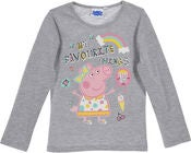 Peppa Gris Langermet T-Skjorte, Light Grey