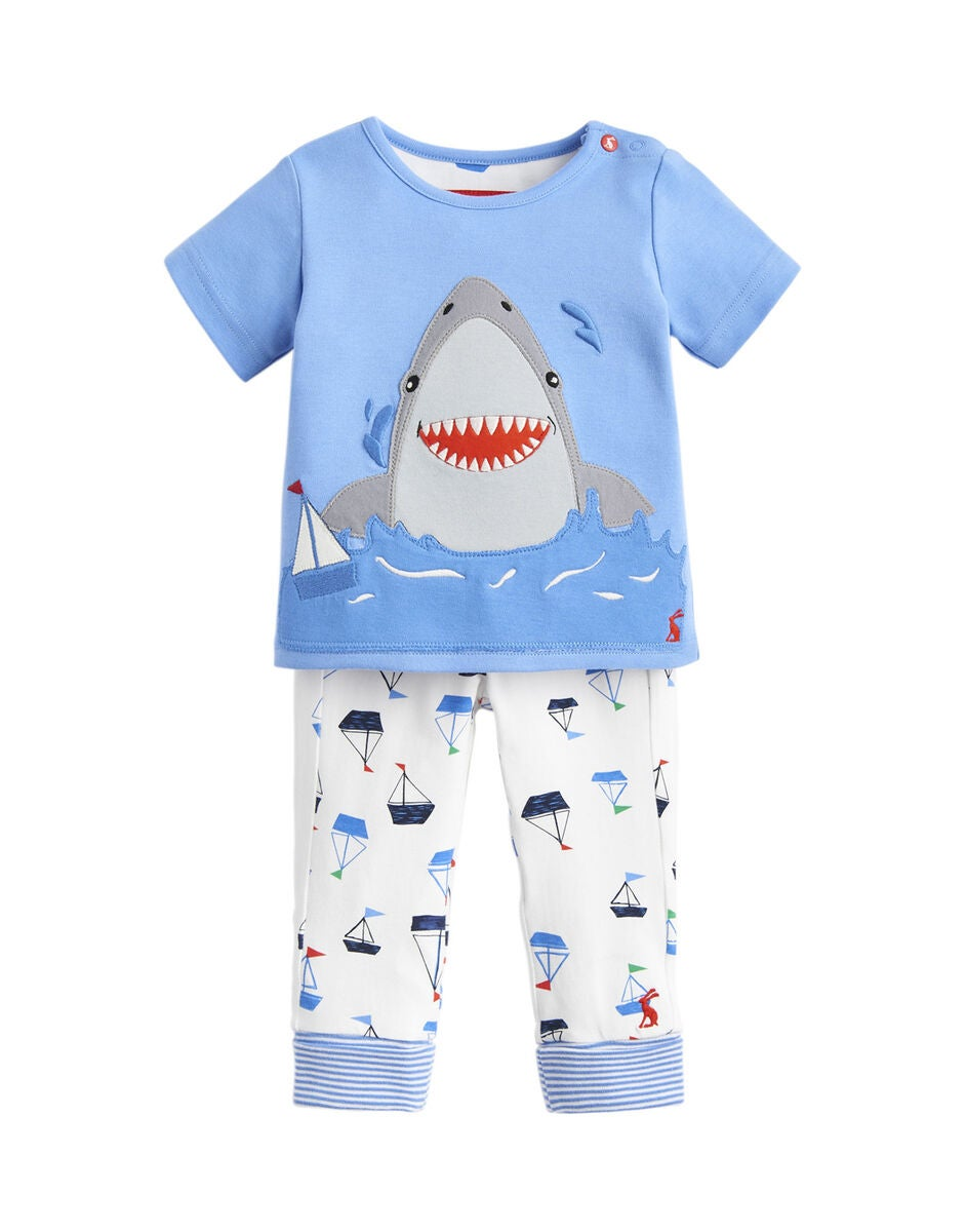 Tom Joule Topp & Bukse Sett, Blue White Shark