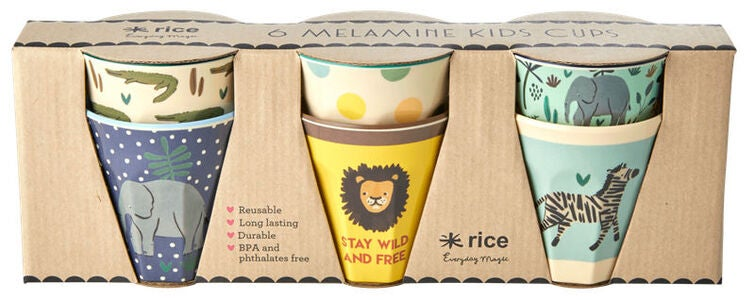 Rice Kopp Melamin Liten Jungle Print 6-pack, Blue