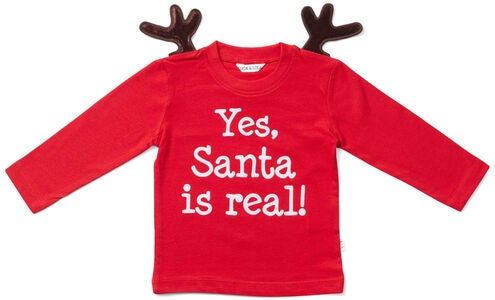 Luca & Lola Baby Langermet T-shirt Santa Is Real Deer, Red