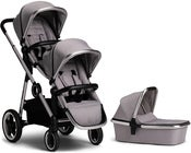 Beemoo Twin Travel+ 2019 Søskenvogn, Light Grey + Liggedel