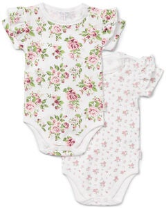 Petite Chérie Atelier Catrin Body 2-Pack, White/Flowers