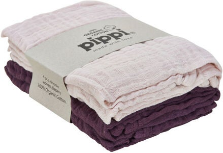 Pippi Organic Musselinteppe 4-pack, Black Plum