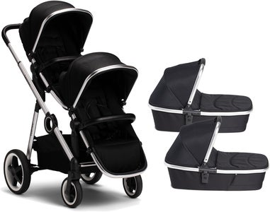 Beemoo Twin Travel+ 2020 Tvillingvogn, Black