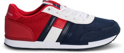 Tommy Hilfiger Low Cut Lace Sneaker, Blue/Red