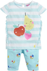 Tom Joule Topp & Leggings Sett, Aqua Stripe Fruit