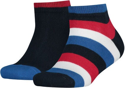 Tommy Hilfiger Basic Stripe Quarter Sokker 2-Pack, Midnight Blue