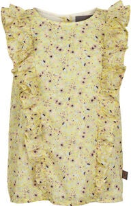 Creamie Yellow Flower Bluse, Popcorn