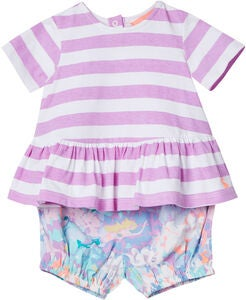 Tom Joule Sett Top & Shorts, Mauve Stripe
