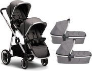 Beemoo Twin Travel+ 2020 Tvillingvogn, Dark Grey
