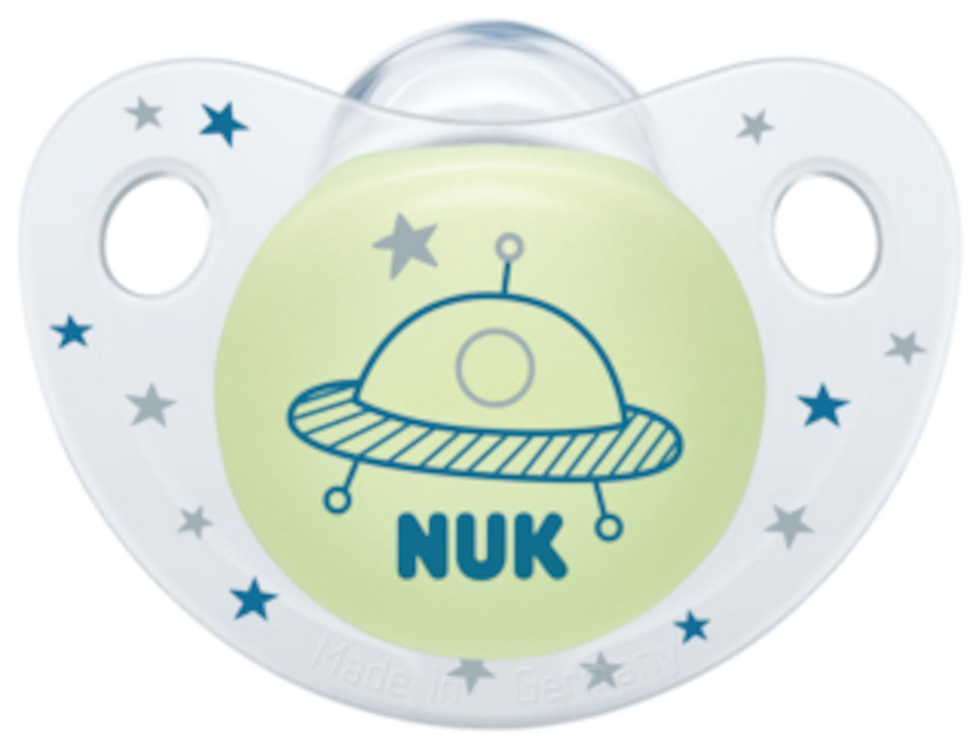 NUK Trendline Night & Day 0-6 mnd Smokk 2-pack, Blå/Hvit