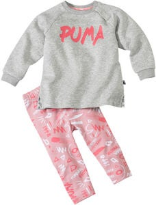 Puma Minicats Girls Aop Overdel og Leggings, Light Grey Heat