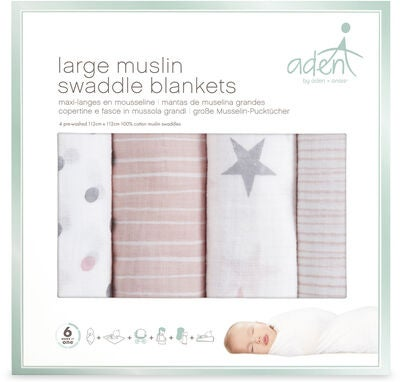 Aden by Aden + Anais Helseteppe Swaddle 4-pack, Rosa