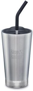 Klean Kanteen Insulated Tumbler med Sugerørlokk 473ml, Brushed Stainless