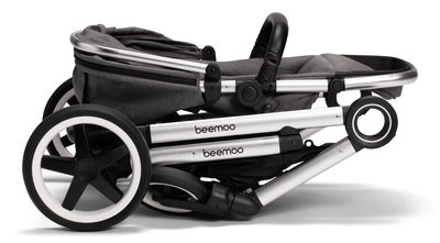 Beemoo Twin Travel+ 2019 Søskenvogn, Dark Grey + Liggedel