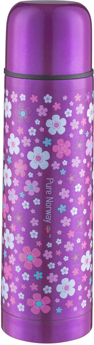 Pure Norway Go Ståltermos Blomster 500ml, Metallic