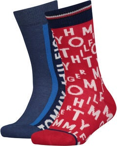Tommy Hilfiger Loose Letters Sokker 2-pack, Red/Blue