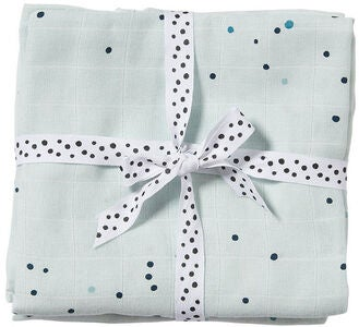 Done By Deer Musselinteppe Dreamy Dots 2-pack, Blue