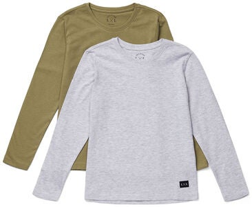 Luca & Lola Abel Langermet T-Shirt 2-pack, Grey Melange/Brown