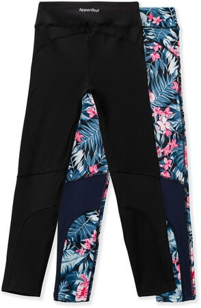 Hyperfied Track Tights 2-pack, Black/Tropical Flower