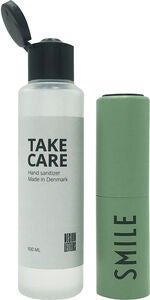 Design Letters Take care Refillflaske Håndsprit 20 ml inklusive 100 ml Handsprit Smile, Green