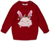 Luca & Lola Baby Genser Winter Bunny, Red