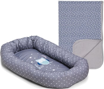 Alice & Fox Babynest Owl,Grey + Alice & Fox Teppe Dots, Grey