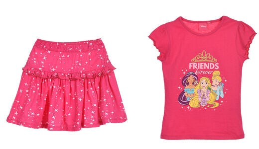 Disney Princess T-Shirt & Skjørt, Fushia